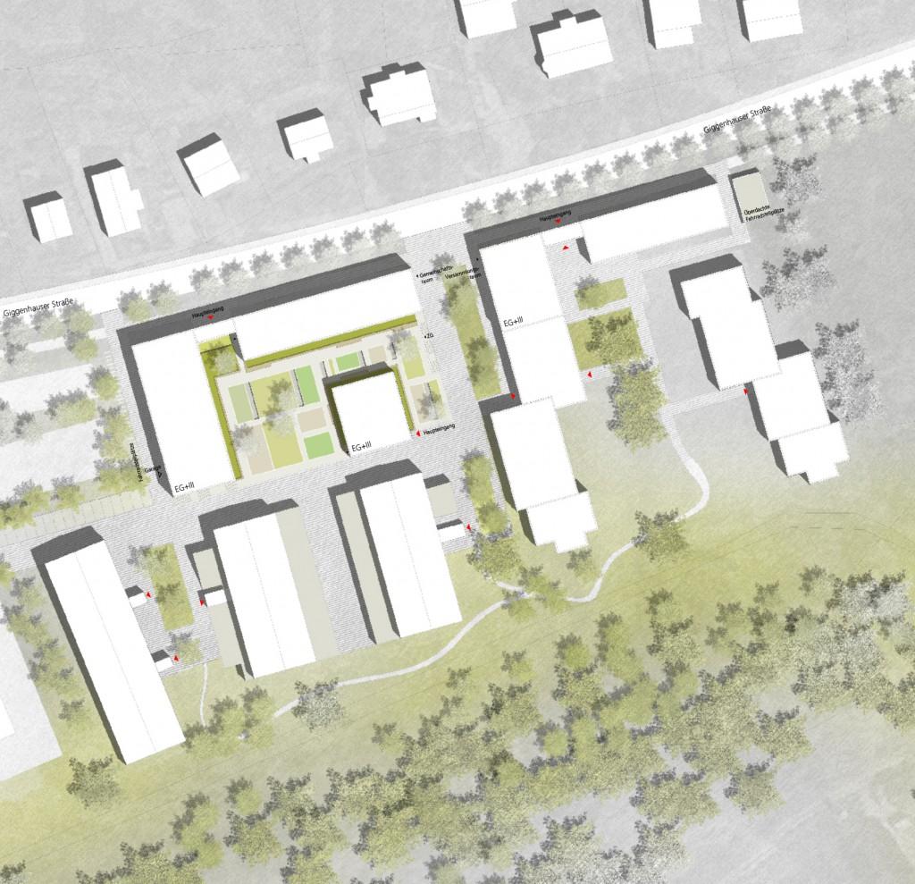 Entwurf: Nickl & Partner Architekten AG - Lageplan WEIHENSTEPHAN Erweiterung der Wohnanlage für Studierende