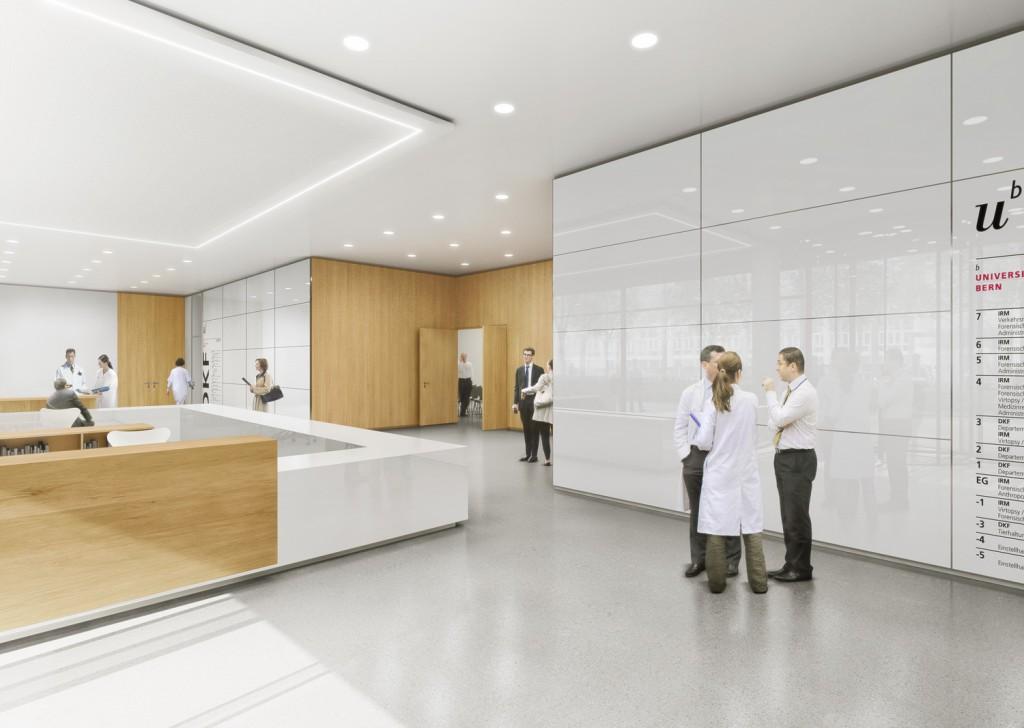 Entwurf: Nickl & Partner AG - Empfangshalle - Forschungsgebäude Rechtsmedizin und Klinischen Forschung Universität Bern