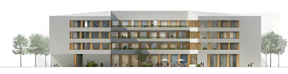 Entwurf: Nickl & Partner Architekten AG - Ansicht Süd - Wettbewerb Neubau Alten- und Pflegeheim in Wels