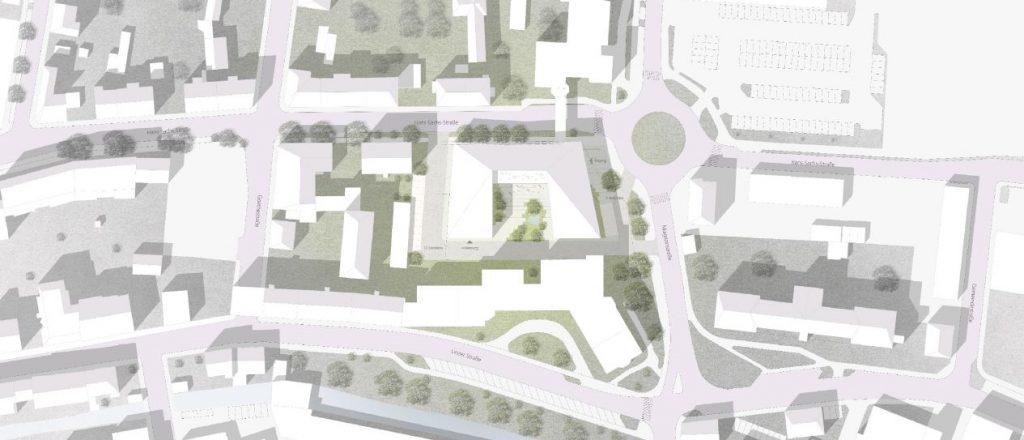 Entwurf: Nickl & Partner Architekten AG - Außenperspektive - Wettbewerb Neubau Alten- und Pflegeheim in Wels