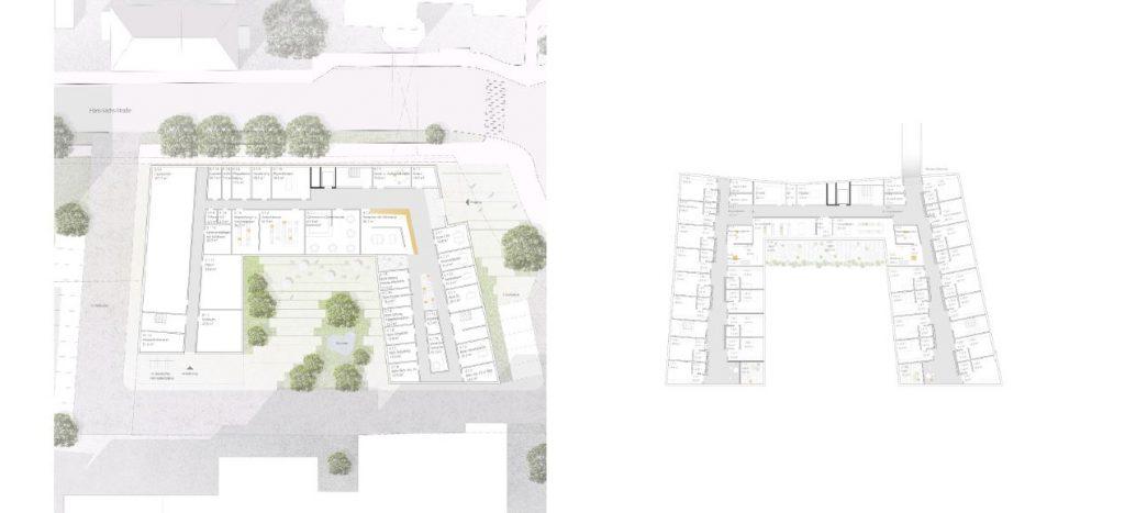 Entwurf: Nickl & Partner Architekten AG - Erdgeschoß und 1. Obergeschoß - Wettbewerb Neubau Alten- und Pflegeheim in Wels