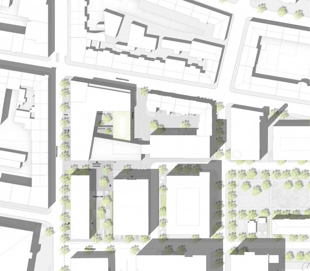 Entwurf: Nickl & Partner Architekten AG - Lageplan - Neubau Universitäres Zentrum Zahnmedizin und Umweltwissenschaften der Unversität Basel, Campus Rosental, Basel Stadt