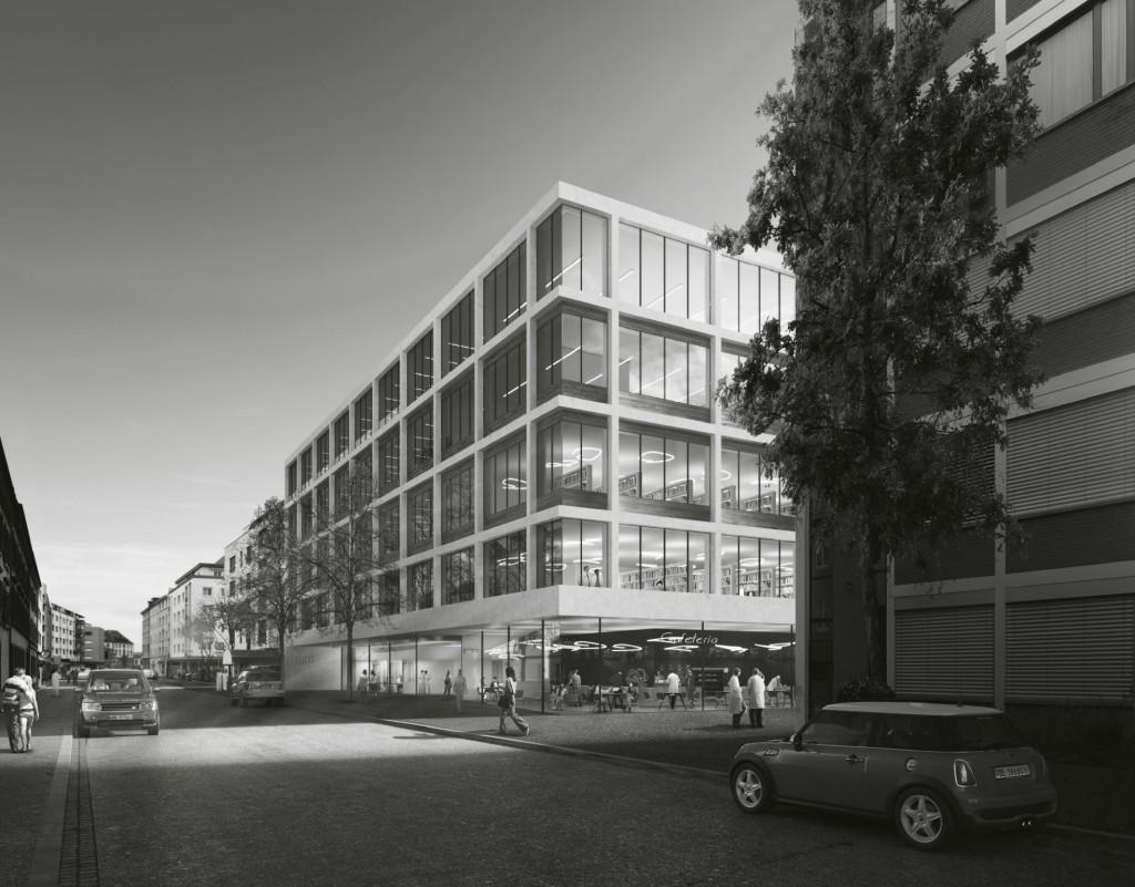 Entwurf: Nickl & Partner Architekten AG - Visualisierung - Neubau Universitäres Zentrum Zahnmedizin und Umweltwissenschaften der Unversität Basel, Campus Rosental, Basel Stadt