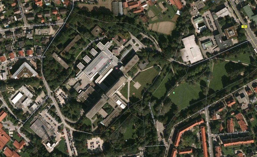 Nickl & Parner Architekten AG - Luftbild - Klinikum Landshut, © Google