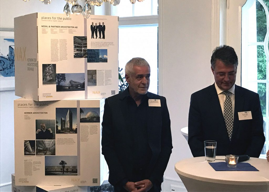 Nickl & Partner Architekten AG contribution to the exhibition, on left: Prof. Ralf Niebergall (Vice President, Federal Chamber of German Architects), on right: State Secretary Gunther Adler (BMUB)