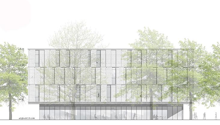 Zentrums für Philologie und Digitalität in Würzburg, Ansicht West Entwurf Nickl & Partner Architekten AG