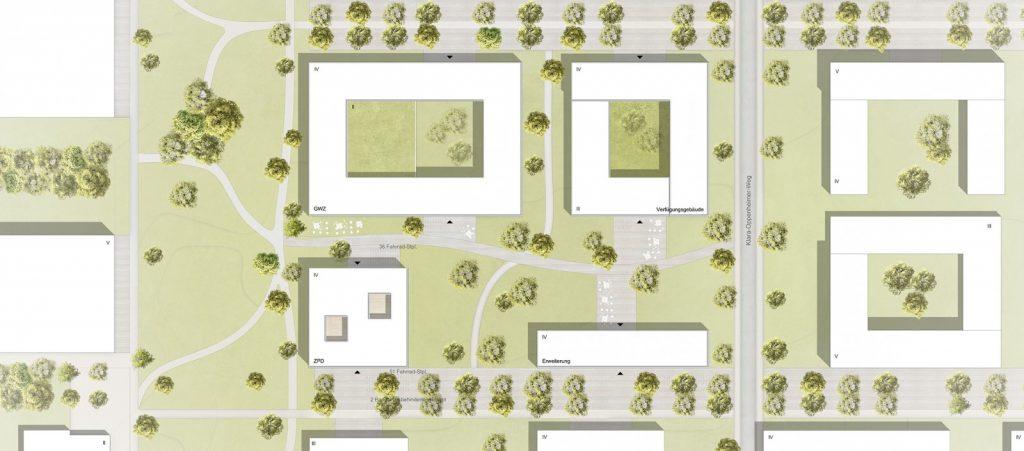 Zentrums für Philologie und Digitalität in Würzburg, Lageplan Entwurf Nickl & Partner Architekten AG