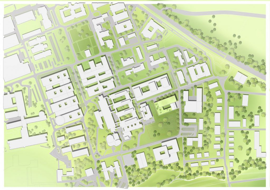 Site map of the planned new CARDDIAB research building of Düsseldorf University Hospital