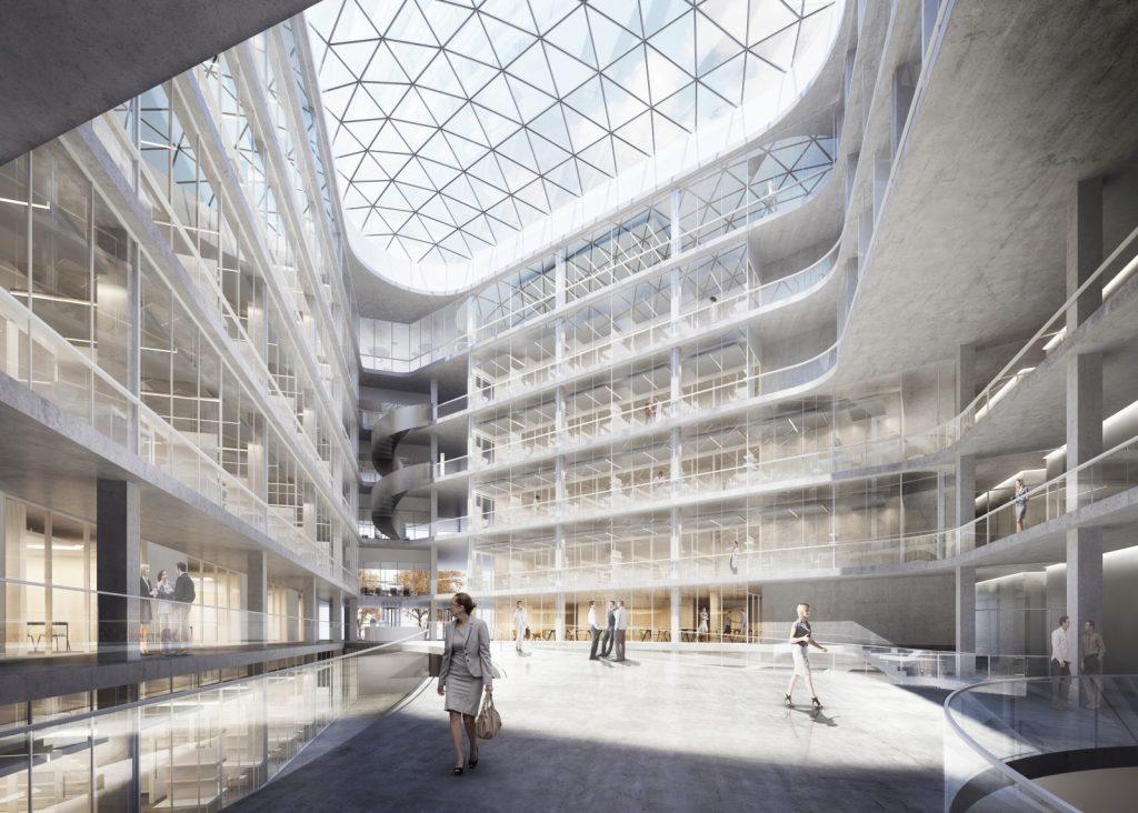 Perspektive des Atriums, Entwurf Nickl & Partner Architekten