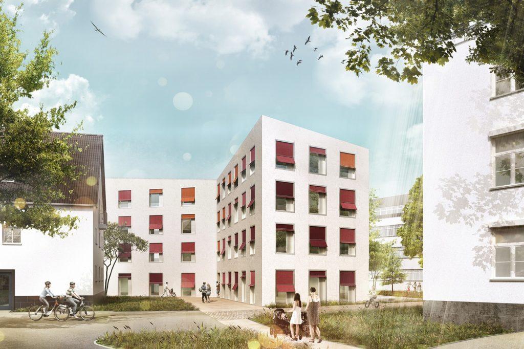 Das neue Familienhaus liegt am Waldrand und unmittelbar neben dem neuen Eltern-Kind Zentrum (ELKI) am Universitätsklinikum Bonn: Außenperspektive, Nickl & Partner Architekten