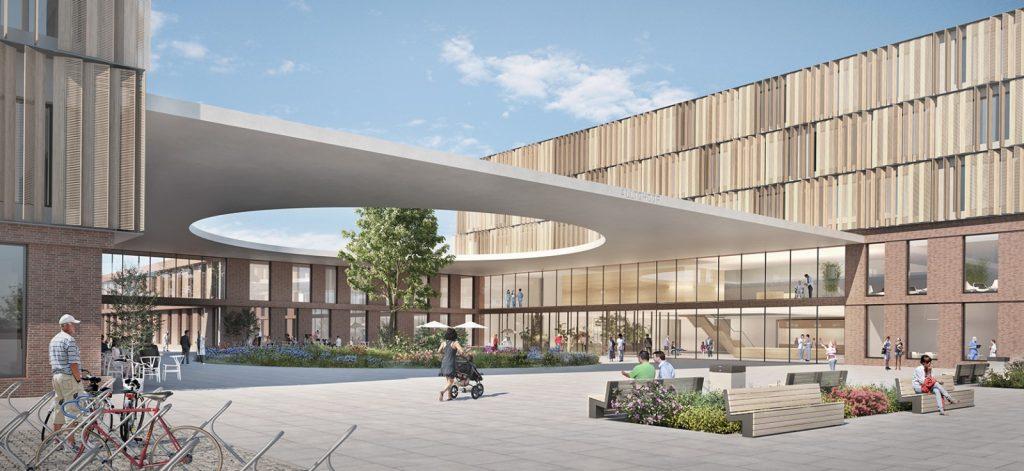 Visualisierung Haupteingang, Wettbewerb Georgsheil, Nickl & Partner Architekten