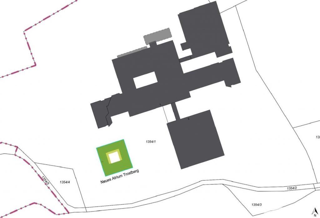 Lageplan des geplanten Neubaus an der Kreisklinik Trostberg, Nickl & Partner Architekten