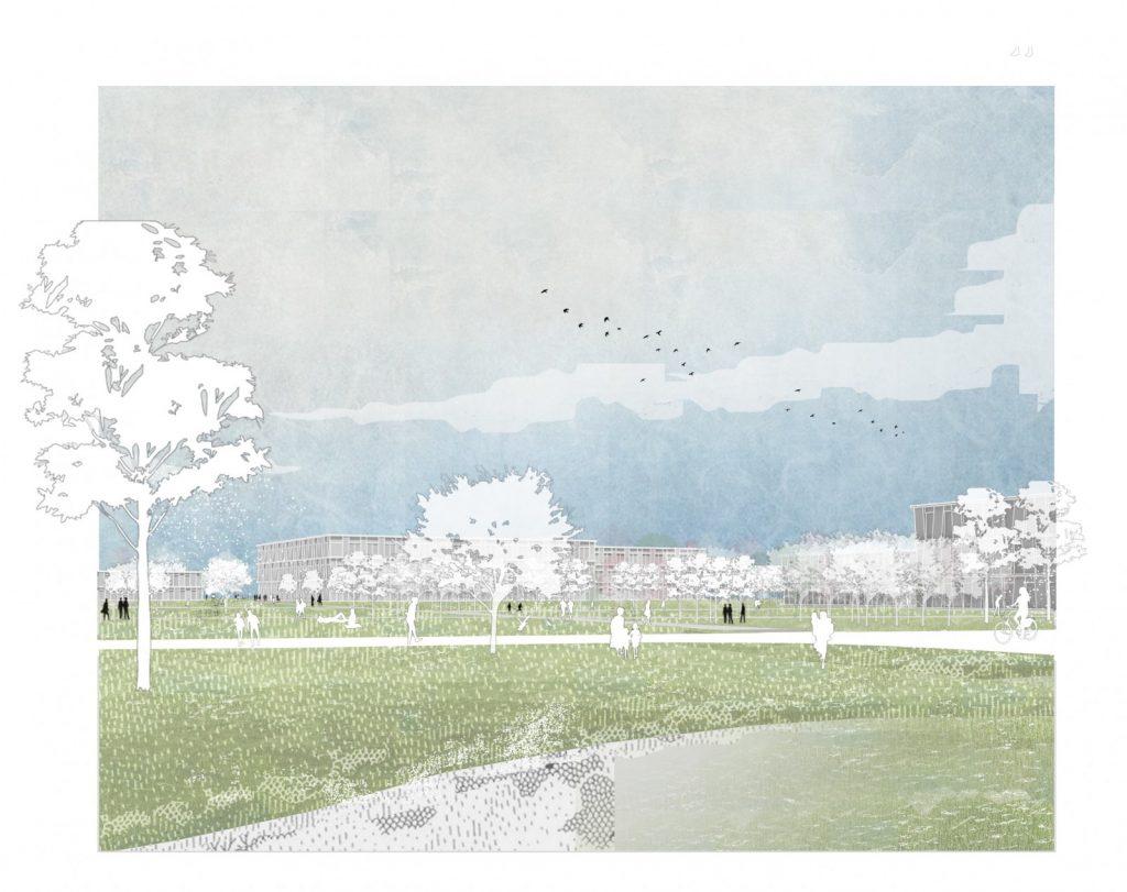 Außenperspektive für den Entwurf des Ortenau Klinikums in Achern.