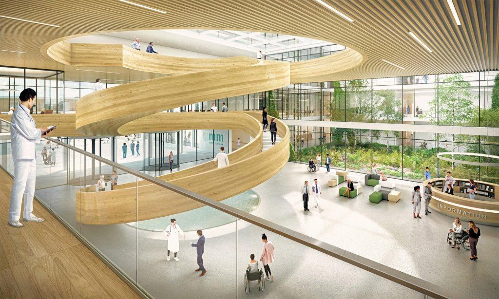 Neubau des Klinikums Memmingen Innenperspektive mit Foyer, Nickl & Partner Architekten