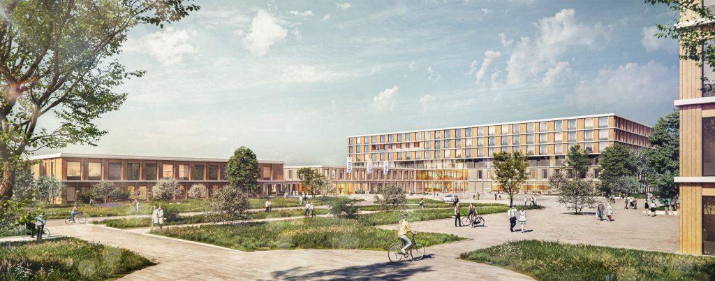 Neubau des Klinikums Memmingen Außenperspektive, Nickl & Partner Architekten