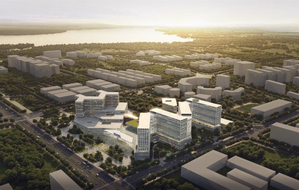 Visualisierung des Suzhou Dushu Lake Hospitals aus der Vogelperspektive