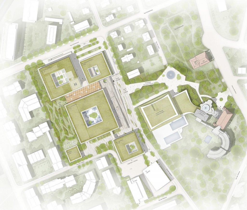 Der Entwurf schlägt ein pavillon-artiges Ensemble vor